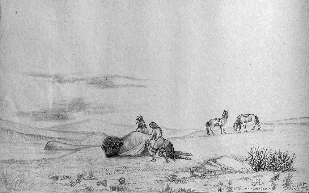 1-Simons Print  - Indian Skinning a buffalo on the plains.jpg