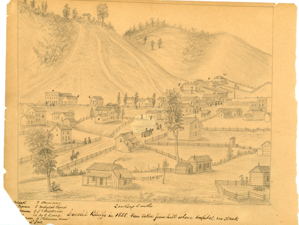 Simons Print - Council Bluffs in 1858 Looking South.tif