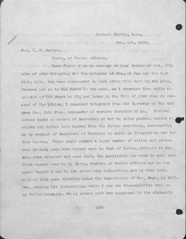General Dodge Papers November 1869 Council Bluffs Public Library