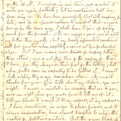 Letter to Amelia Bloomer from Harriet N. Torrey.