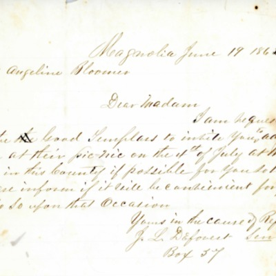 Letter to Amelia Bloomer from J. L. Deforest Sr.