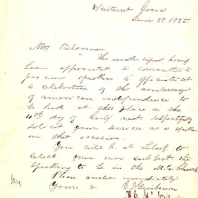Letter to Amelia Bloomer from Winterset, Iowa.
