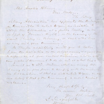 Letter to Amelia Bloomer from Sidney, Iowa.