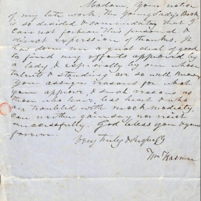Letter to Amelia Bloomer from William Hasman.