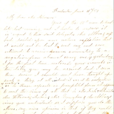 Letter to Amelia Bloomer from P. L. Alling.