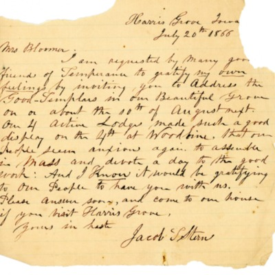 Letter to Amelia Bloomer from Jacob T. Stern.
