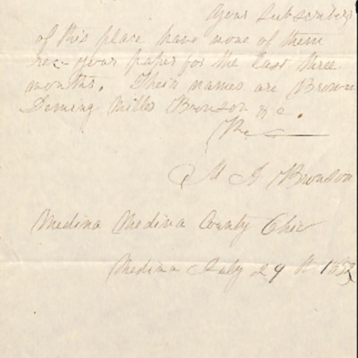Letter to Amelia Bloomer from M. A. Bronson.