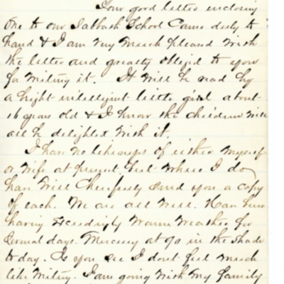 Letter to Amelia Bloomer from V. F. Chamberlain.