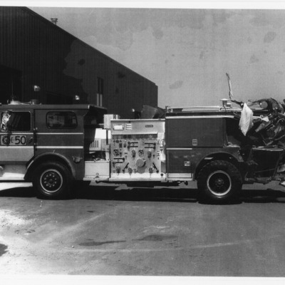 Fire Department Engine 50 hit by truck on I-80 9-5-1980.tif