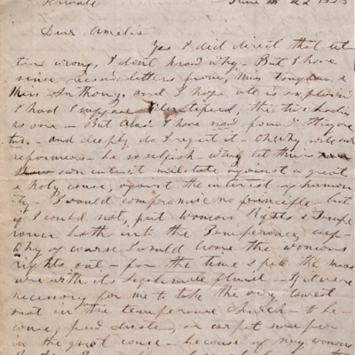 Letter to Amelia Bloomer from Francis Gage.