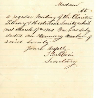 Letter to Amelia Bloomer from T. Park Coni.