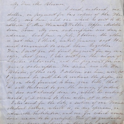 Letter to Amelia Bloomer from Mary G.