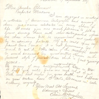 Letter to Amelia Bloomer from Edwin Houghton.