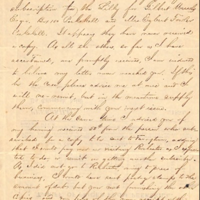Letter to Amelia Bloomer from I. S. Chambers