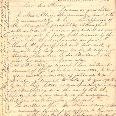 Letter to Amelia Bloomer from H. A. Albin.