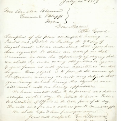Letter to Amelia Bloomer from Magnolia, Iowa.