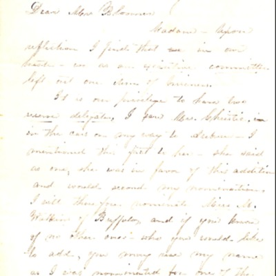 Letter to Amelia Bloomer from Clarissa Robie.