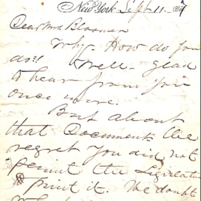 Letter to Amelia Bloomer from Fowler and Wells.