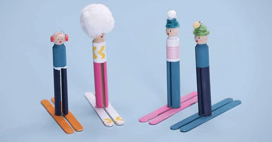 Tinker Zone To Go: Clothespin Skiers
